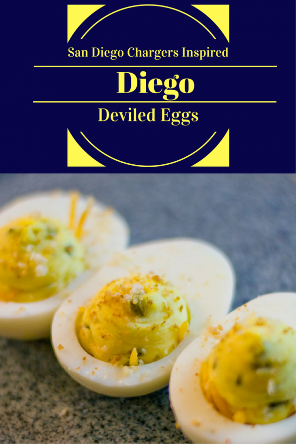 The Diego Deviled Eggs are inspired by the San Diego Chargers and Qualcomm Stadium's Diego Burger! 2geekswhoeat.com #gameday #appetizer