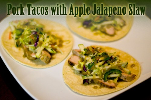 Pork Tacos with Apple Jalapeno Slaw
