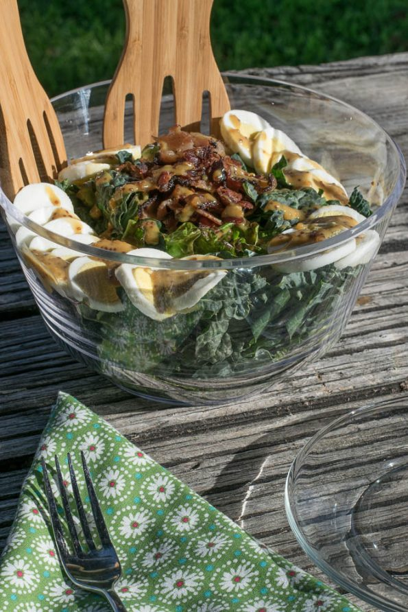 The Geeks bring a little green to bacon week with their Honey Mustard Kale and Bacon Salad recipe, a take on the classic spinach salad. 2geekswhoeat.com #bacon #kale