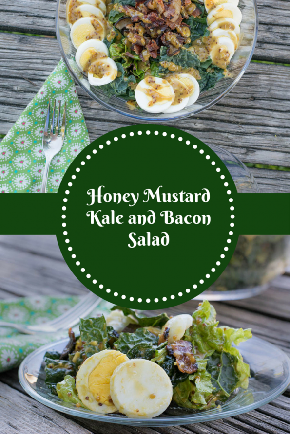 The Geeks bring a little green to bacon week with their Honey Mustard Kale and Bacon Salad recipe, a take on the classic spinach salad. 2geekswhoeat.com #kale #recipe #bacon