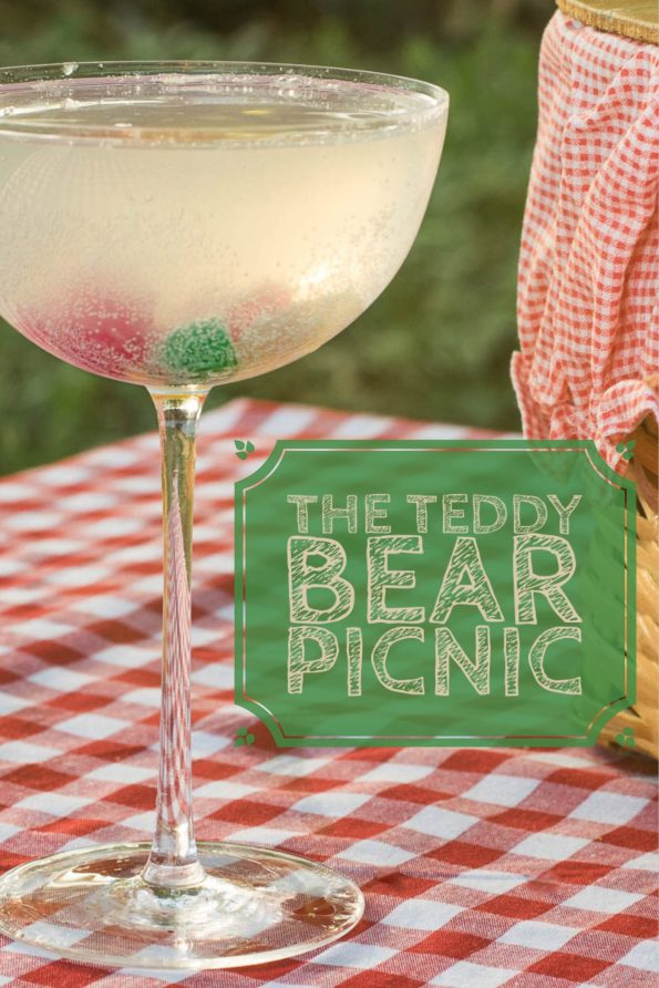 The Teddy Bear Picnic is a champage and gin cocktail that features gummy bears! 2geekswhoeat.com #cocktail #recipe