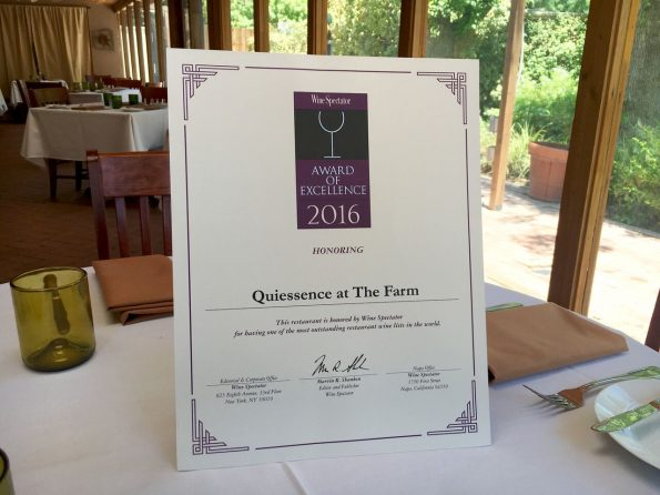 Wine Spectator Award Quiessence