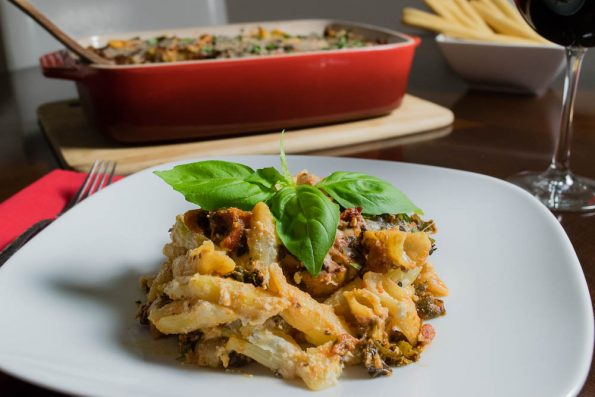 Taste of Italy Fully Loaded Veggie Pasta Bake 2geekswhoeat.com #pasta #vegetarian