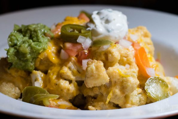 Flash Fried Cauliflower Nachos with Queso Sauce