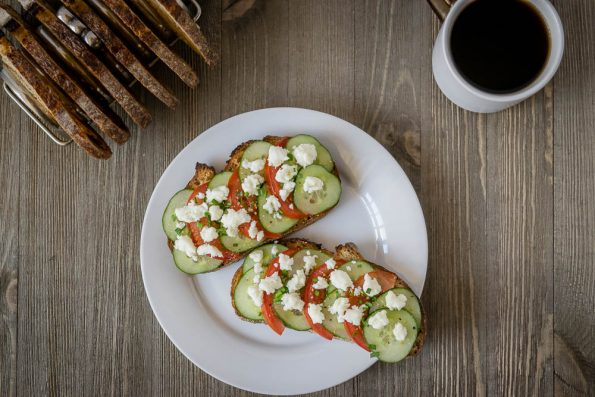 Take toast to a new level with the Geeks Mediterranean Salad Toast! 2Geekswhoeat.com #Toast #Breakfast