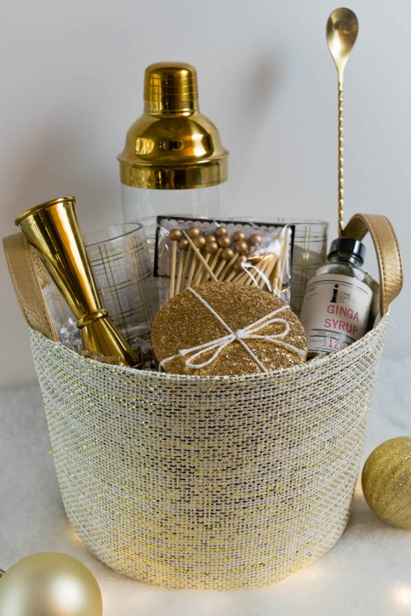 Picking a fun color is a unique way to create a gift basket for the foodie in your life! 2geekswhoeat.com #foodie #gift