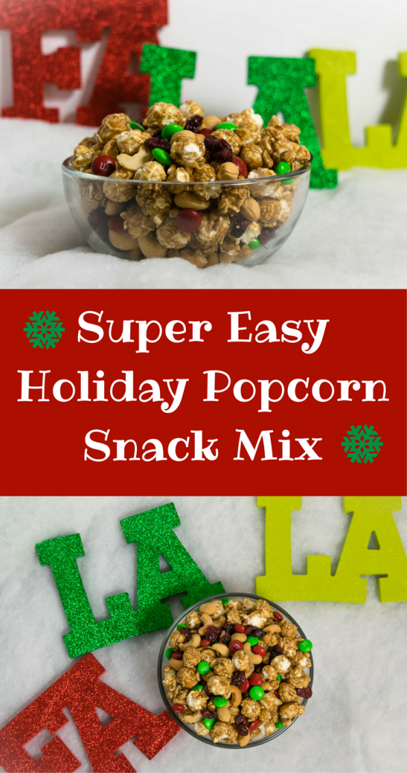 The Geeks share their recipe for a Super Easy Holiday Popcorn Snack Mix, perfect for all of your holiday entertaining needs. 2geekswhoeat.com #recipe #holiday