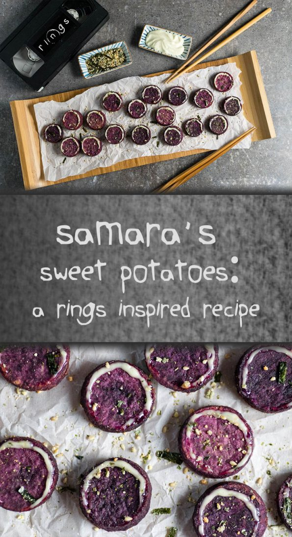 Samara's Sweet Potato Bites are a Japanese influenced appetizer inspired by the movie Rings and its predecessor Ringu! 2geekswhoeat.com #SweetPotatoeRecipes #Appetizers #SideDishes #Halloween #HorrorMovieRecipes #HorrorMovieFood #PartyIdeas