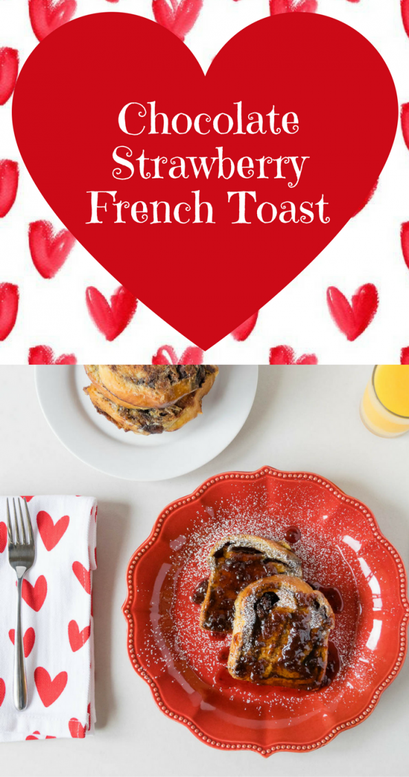 Valentine's Day | French Toast | Perfect for a Valentine's Day breakfast in bed, this Chocolate Strawberry French Toast is sure to bring a bit of sweetness to the day! 2geekswhoeat.com
