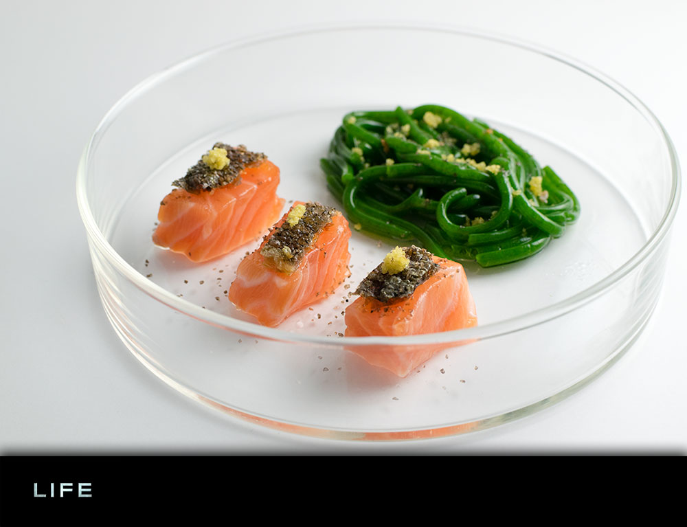 "Molecular Gastronomy | Seafood Recipes | The Geeks utilize molecular gastronomy skills to create a recipe for Salmon Crudo with Crystalized Fennel and Spinach ""Pasta"" inspired by the movie Life. 2geekswhoeat.com"
