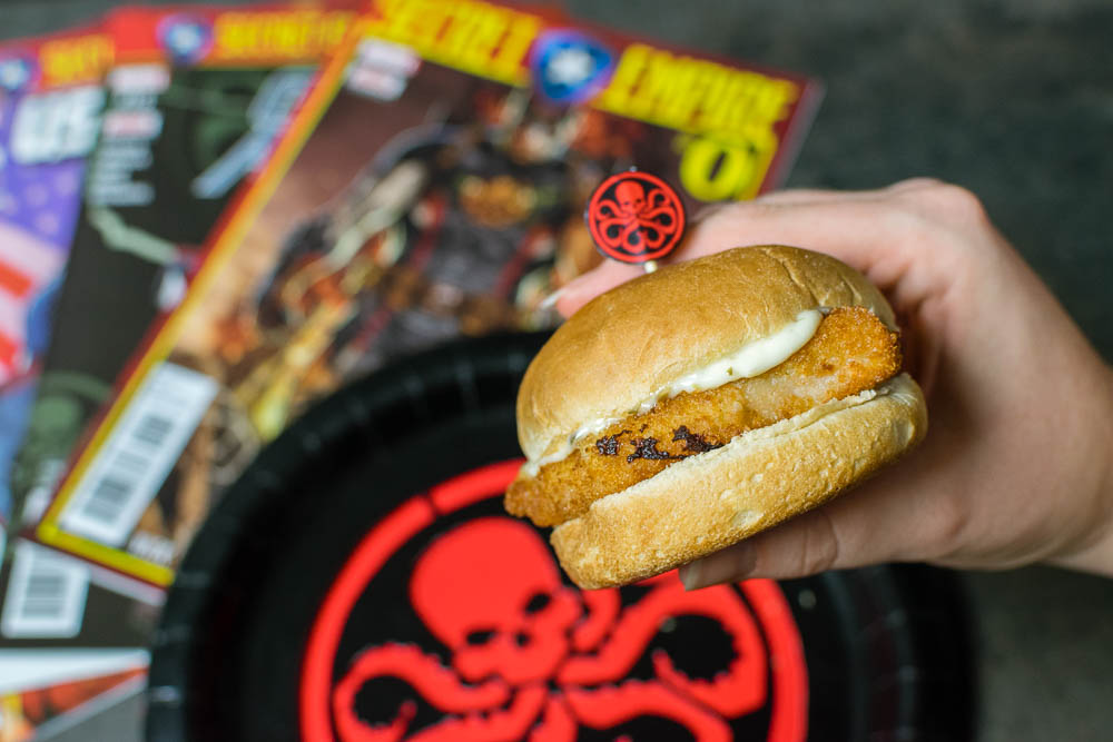 Comic Book Recipes | Slider Recipes | Marvel | To mark the release of Secret Empire, The Geeks have created Hydra Schnitzel Sliders with Lemon Caper Aioli! 2geekswhoeat.com