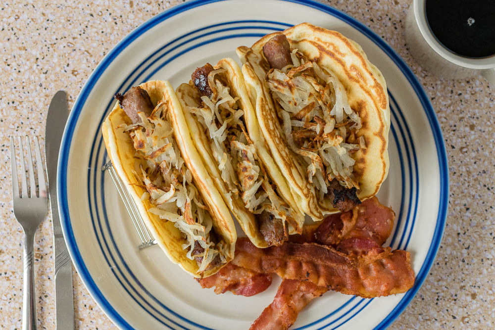Supernatural | Supernatural Recipes | Taco Recipes | Breakfast Recipes | Inspired by the Supernatural episode Mystery Spot, The Geeks have created a recipe for Pig 'N a Poke Tacos! [sponsored] 2geekswhoeat.com