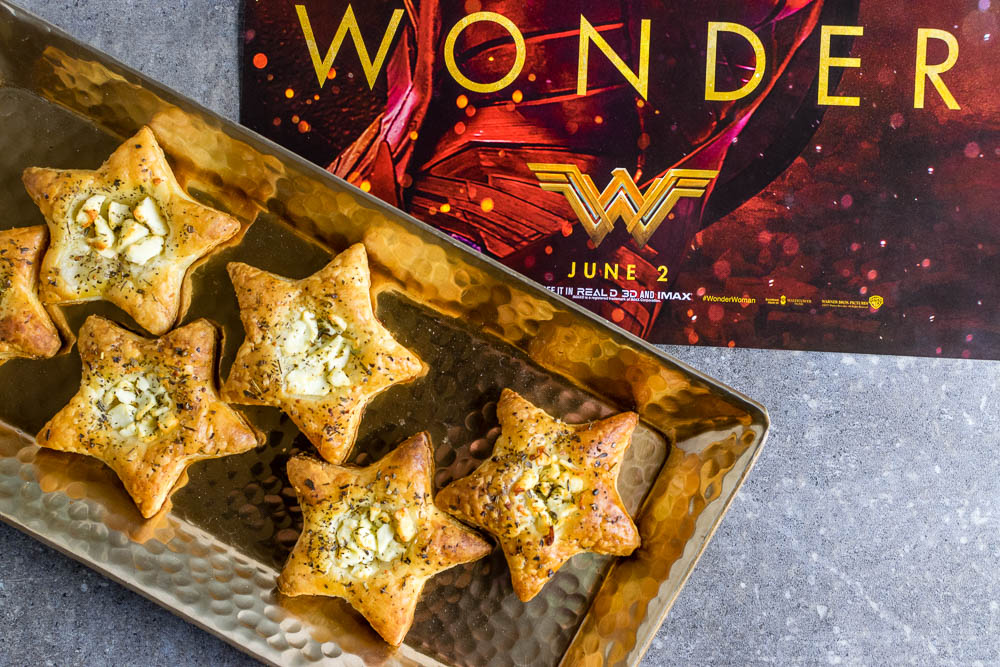 Wonder Woman | Geeky Recipes | Movie Recipes | To celebrate Wonder Woman's debut on the big screen, The Geeks have created a recipe for Feta and Puff Pastry Stars. [Giveaway] 2geekswhoeat.com