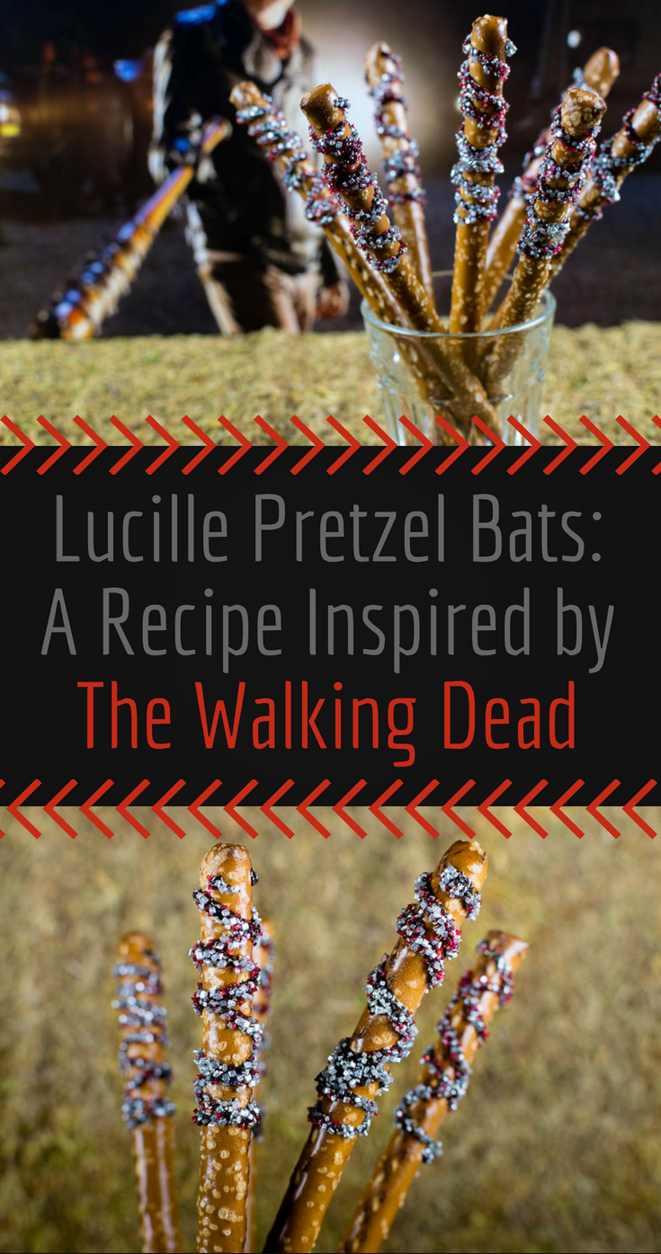 Walking Dead Recipes | Halloween Recipes | Snack Recipes | Horror Recipes | Horror Food | Inspired by Negan's terrifying bat Lucille, The Geeks celebrate Season 7's home release with Lucille Pretzel Bats! 2geekswhoeat.com