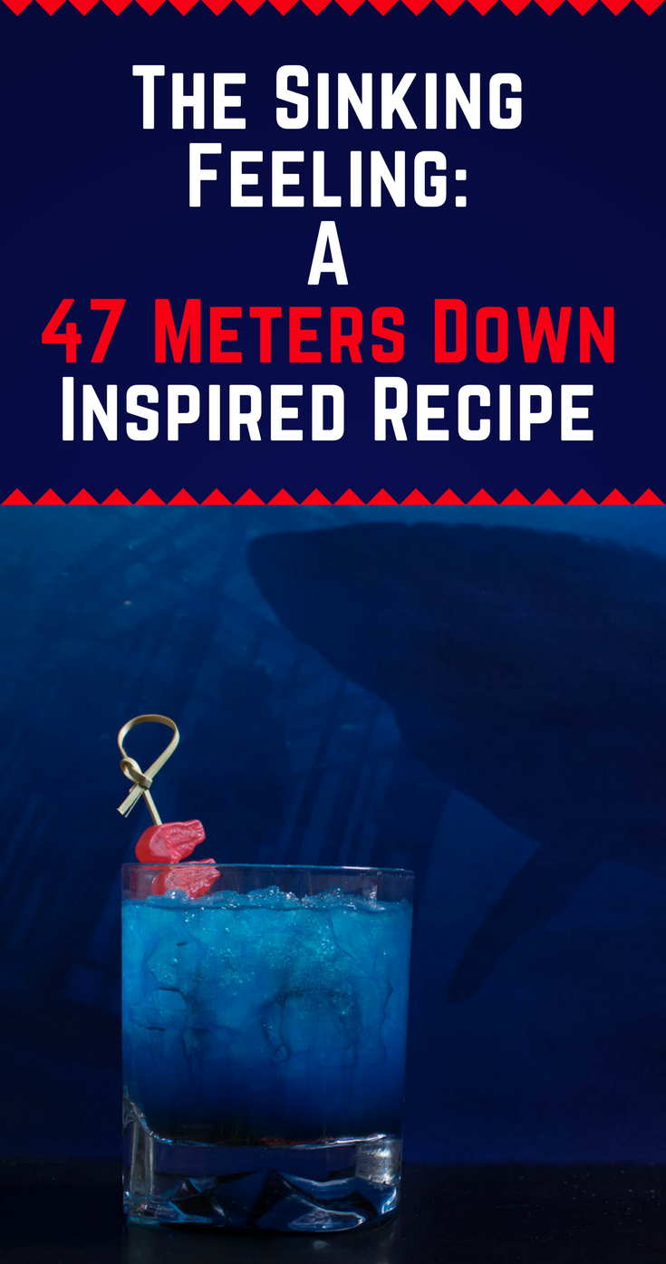 Cocktails | Horror Movies | Halloween | Horror Recipes | Inspired by 47 Meters Down, The Sinking Feeling is a delicious update to the classic Shark Bite Cocktail [Sponsored] 2geekswhoeat.com