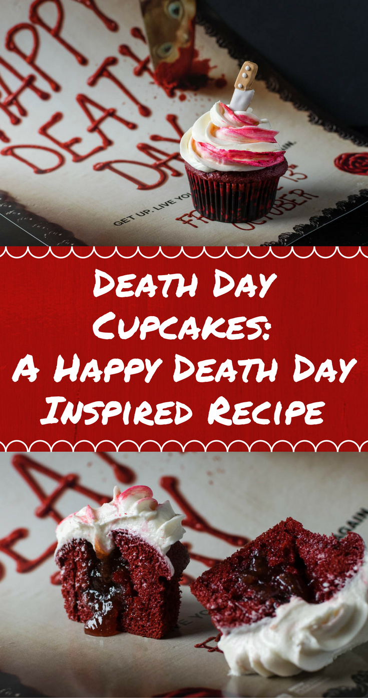 Horror Movie Recipes | Halloween Recipes| Cupcakes | Celebrate Happy Death Day with these Death Day Cupcakes perfect for the most macabre of celebrations! [giveaway] 2geekswhoeat.com