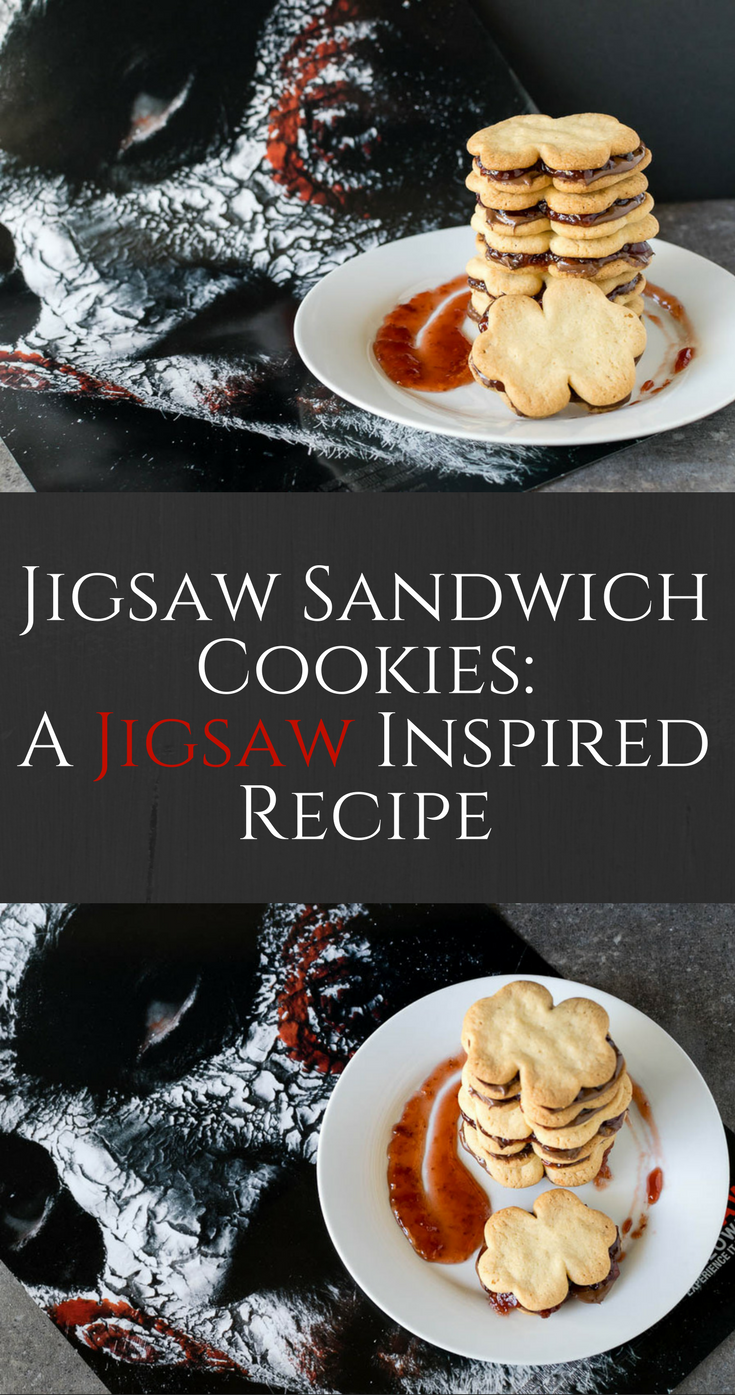 Cookies | Halloween Recipes | Movie Recipes | Dessert | Inspired by Jigsaw and the Saw franchise, The Geeks have created some tasty albeit slightly gory Jigsaw Sandwich Cookies! 2geeskwhoeat.com