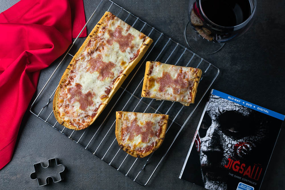 Jigsaw | Horror Movies Recipes | Pizza Recipes | Halloween Party | The Geeks have created their second recipe for the 8th movie in the Saw series, Jigsaw. This time, they have created Puzzle Piece Pizza, a fun way to enjoy the movie's home release. 2geekswhoeat.com