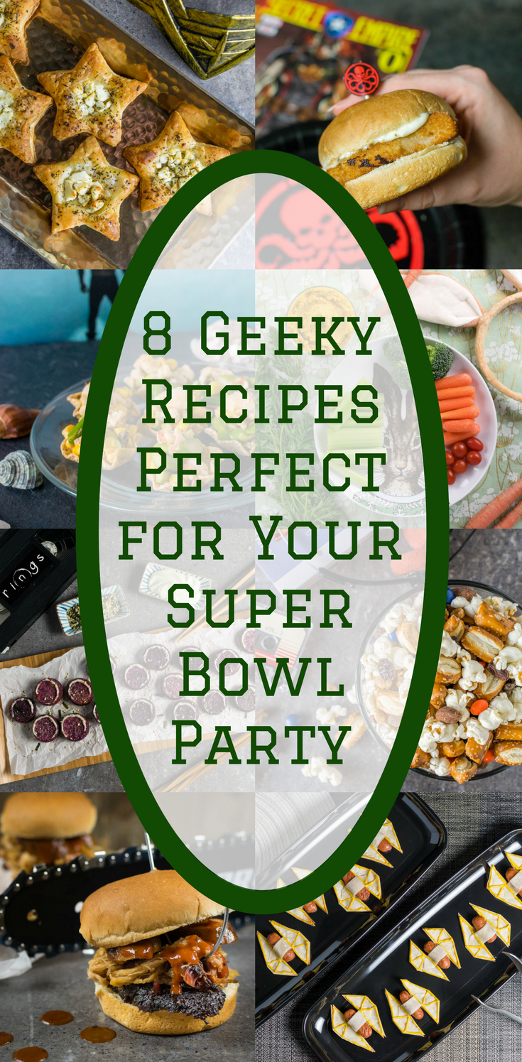 The Geeks have rounded up 8 delicious AND geeky recipes that definitely won't receive any penalties at your Super Bowl Party! 2geekswhoeat.com #GameDayRecipes #SuperBowlRecipes #AppetizerRecipes #GeekyRecipes
