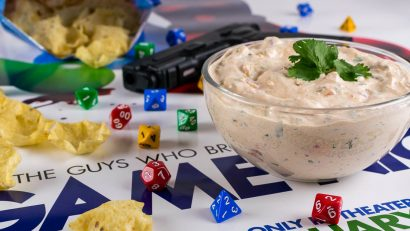 Game Night | Party Recipes | Dip Recipes | Always looking for a snack during their game nights at home, The Geeks created a recipe for Tabletop Taco Dip inspired by the film Game Night! 2geekswhoeat.com