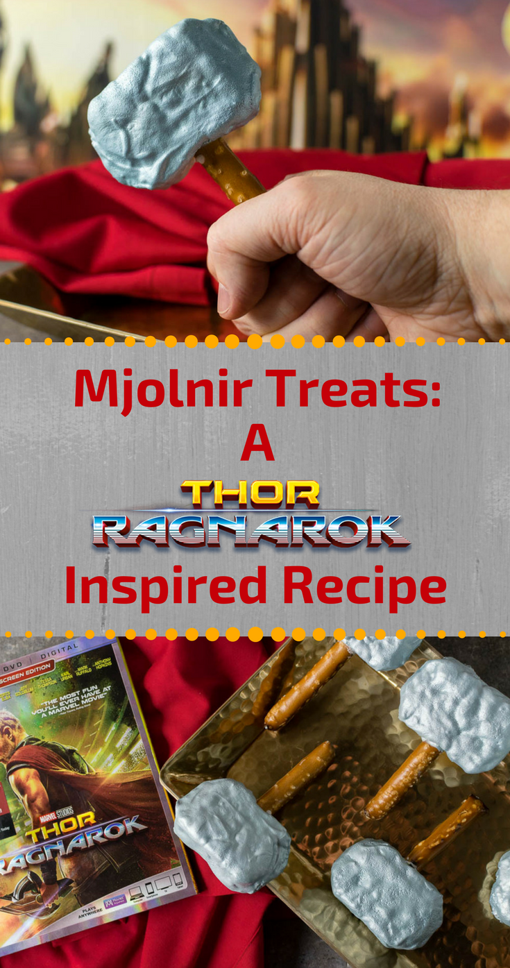 Thor Recipes | Avengers Recipes | Marvel Recipes | The Geeks have created a new recipe for the home release of Thor: Ragnarok, Mjolnir Treats. These treats are sure to please your little Avenger! [sponsored] 2geekswhoeat.com