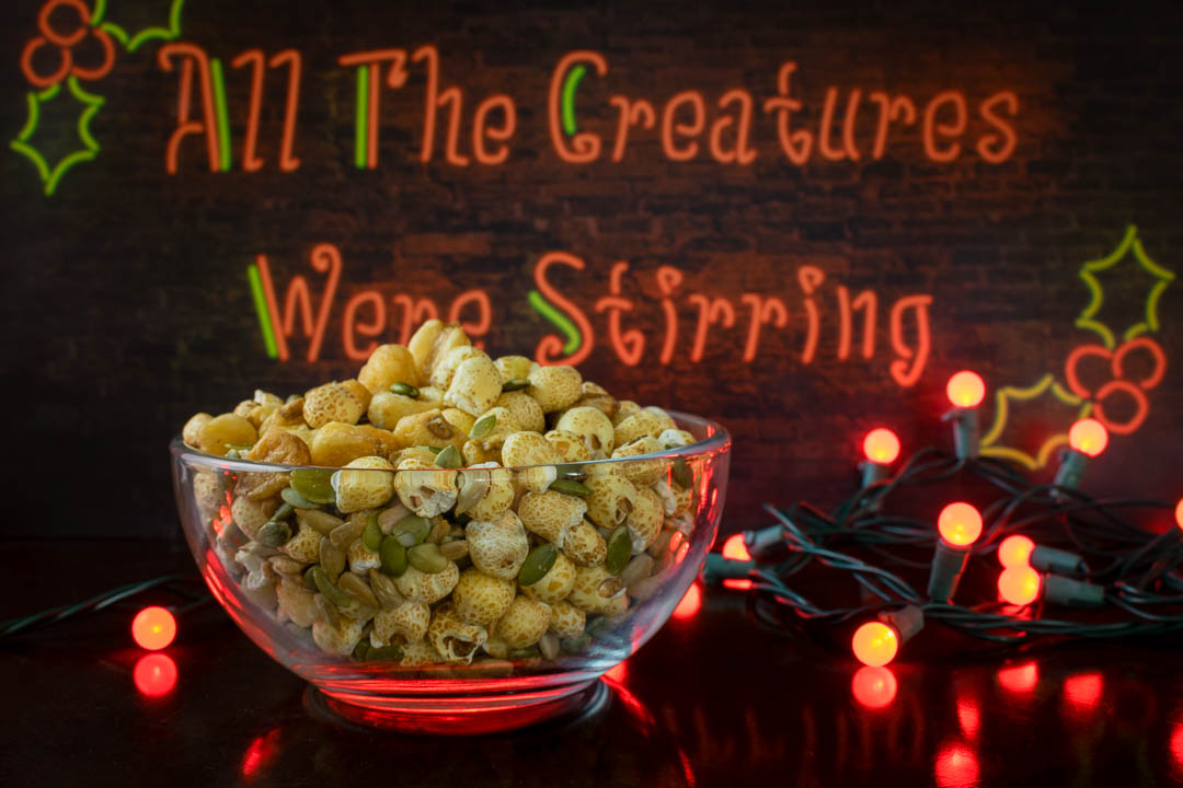 "Allergy Free Snacks | Nut Free Snacks | Movie Inspired Food | The Geeks have created an Allergy Free ""Nut"" Mix inspired by All The Creatures Were Stirring. 2geekswhoeat.com"