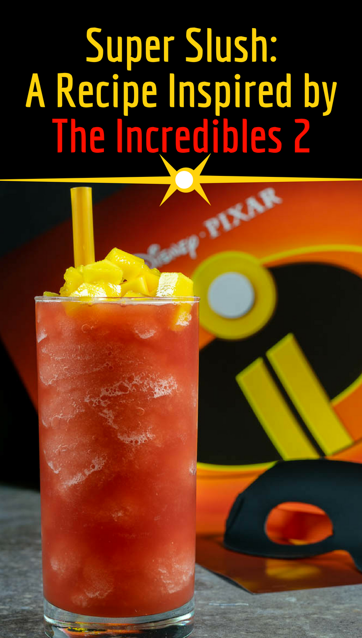 The Geeks have created a brand new recipe to celebrate the highly anticipated release of The Incredibles 2! This Super Slush is not only tasty but healthy too! 2geekswhoeat.com #PixarRecipes #DisneyRecipes #HealthyTreats #Snacks #Breakfast