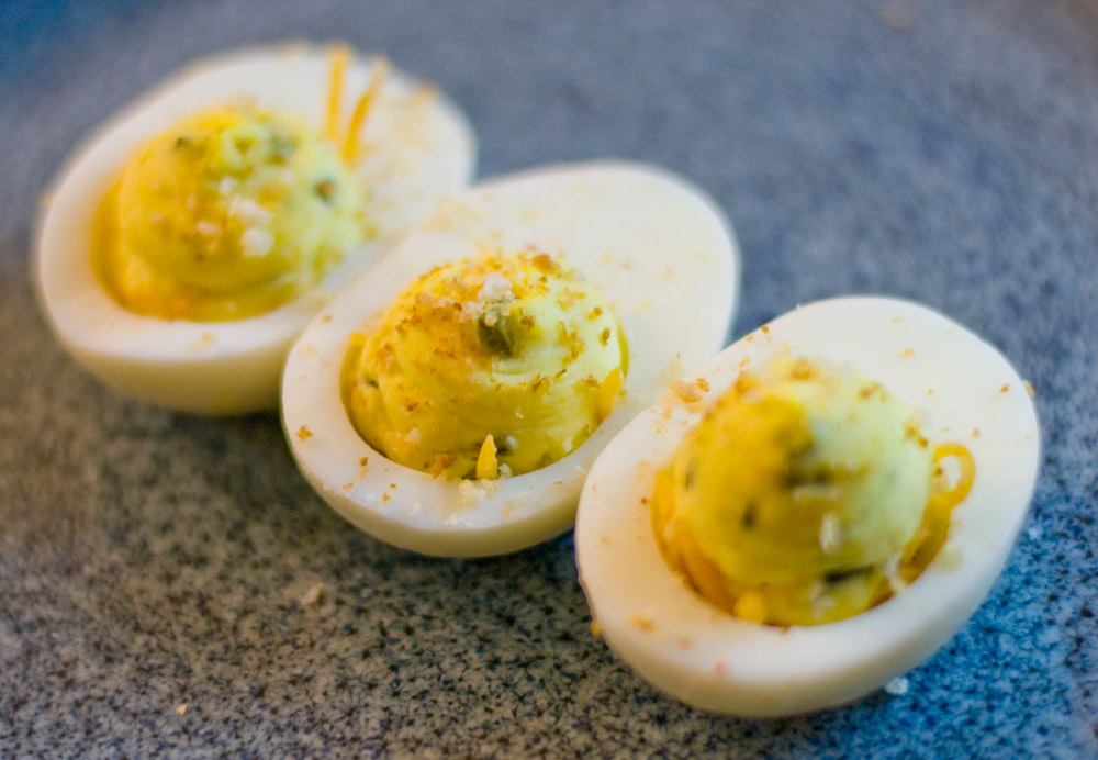 Diego Deviled Eggs are inspired by Qualcomm Stadium's Diego Burger and are perfect for game day! www.2geekswhoeat.com #gameday #appetizer