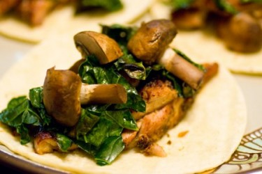 Chicken, Kale, and Mushroom Tacos