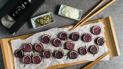 Samara's Sweet Potato Bites are a Japanese influenced appetizer inspired by the movie Rings! 2geekswhoeat.com #Rings #Recipe