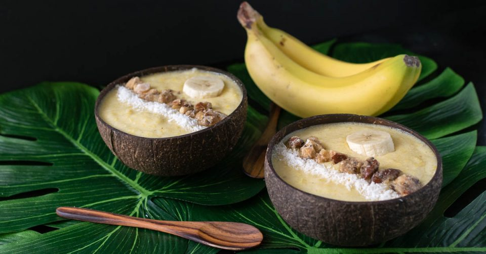 Vegan Recipes | Smoothie Bowl | To commemorate the release of Kong: Skull Island, The Geeks have created Kong's Banana Smoothie Bowl. A breakfast fit for even the King of Apes. 2geekswhoeat.com