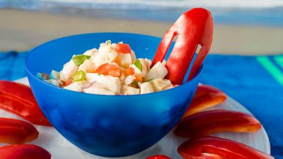 "Inspired by the Florida setting, The Geeks have created a Cuban Style Ceviche for the Baywatch movie starring Dwanye ""The Rock"" Johnson and Zac Efron. 2geekswhoeat.com #SeafoodRecipes #MovieRecipes #Appetizers #PoolsideRecipes #PartyIdeas #GeekyFood #GeekyRecipes"