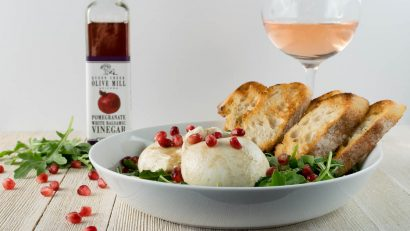 Date Night | Cheese | Appetizer Recipes | Want a great date night appetizer? The Geeks have created a Burrata Salad with a Pomegranate Vinaigrette featuring Queen Creek Olive Mill Pomegranate White Balsamic Vinegar! [sponsored] 2geekswhoeat.com