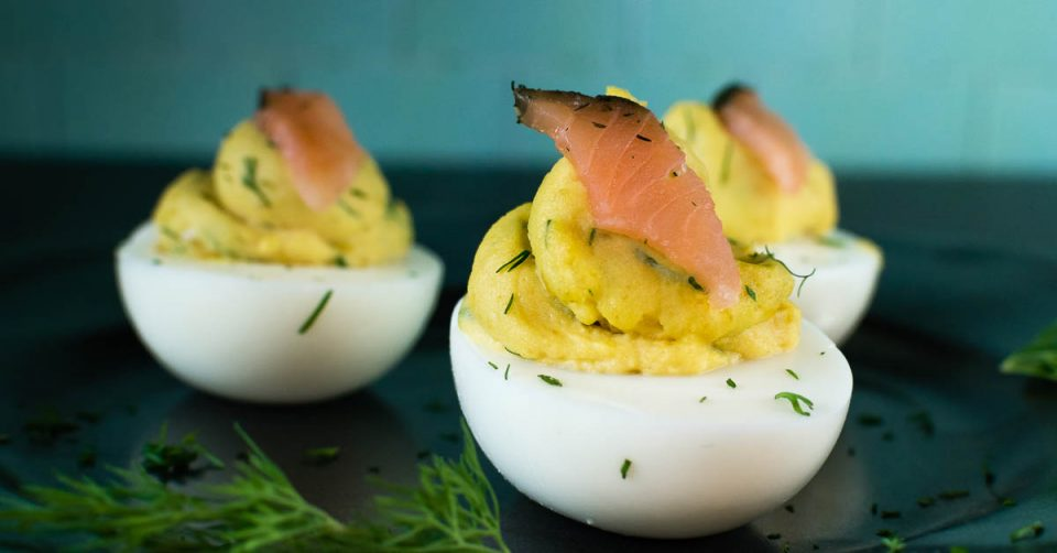 Appetizers | Movie Food | Deviled Eggs | The Geeks have created a new recipe, Smoked Salmon & Dill Deviled Eggs, inspired by Guillermo del Toro's The Shape of Water. 2geekswhoeat.com