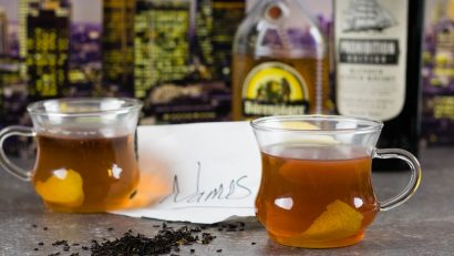 Tea | Cocktail Recipes | Toddy | Movie Recipes | The Geeks have created The Name Drop Toddy, an earl grey toddy inspired by the London setting of the Jackie Chan film, The Foreigner. 2geekswhoeat.com