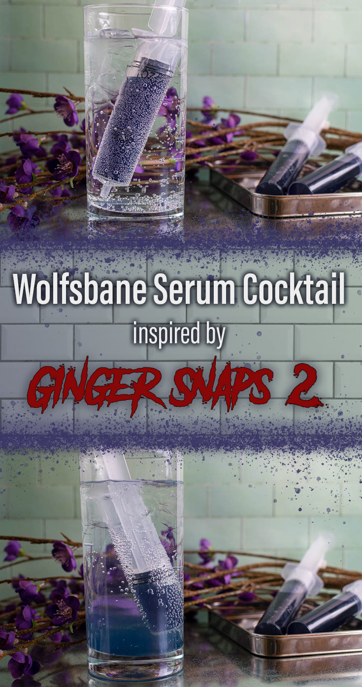 The Geeks celebrate Women in Horror Month with a Creme de Violette cocktail called The Wolfsbane Serum inspired by Ginger Snaps 2: Unleashed. 2geekswhoeat.com #HorrorRecipes #HalloweenRecipes #CocktailRecipes #CraftCocktailRecipes #GeekyRecipes #Halloween #HalloweenParty