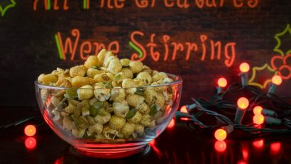 "The Geeks have created an Allergy Free ""Nut"" Mix inspired by the horror film All The Creatures Were Stirring. 2geekswhoeat.com #AllergyFreeSnacks #NutFreeSnacks #MovieInspiredFood #horrorrecipes #HorrorMovies #HorrorRecipes #MovieSnacks #AllergyFree"