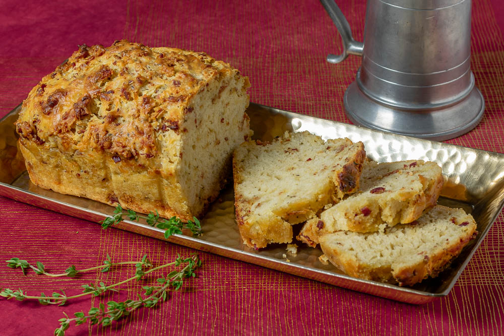 Harry Potter Recipes | Gryffindor Recipes | Bread Recipes | The Geeks have created a Gryffindor themed recipe, Godric's Bacon Cheddar Ale Bread, to celebrate the anniversary of Harry Potter & the Philosopher's Stone. 2geekswhoeat.com
