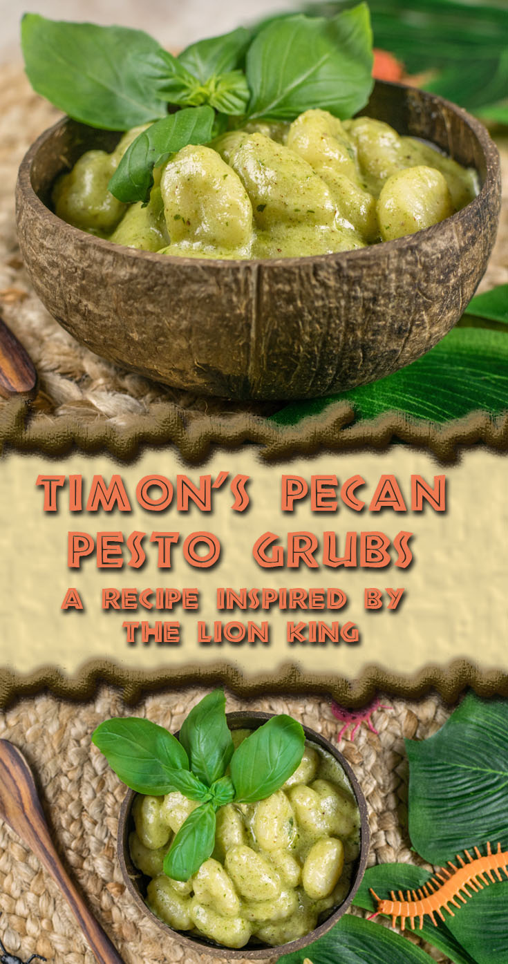 The Lion King | Vegetarian Recipes | Disney Recipes | Disney Food | Pasta Recipes | Gnocchi Recipes | To celebrate the anniversary of Disney's The Lion King, The Geeks created recipe for Timon's Pecan Pesto Grubs! [sponsored] 2geekswhoeat.com