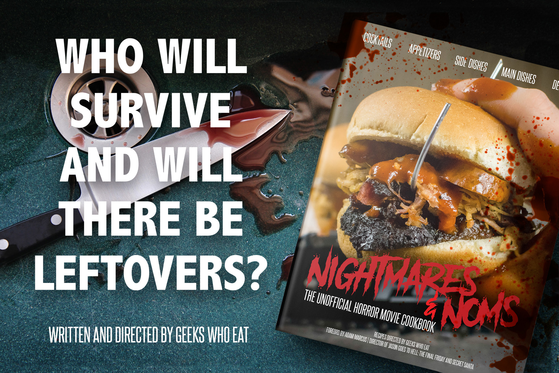 Nightmares and Noms: The Unofficial Horror Movie Cookbook, the first cookbook by The Geeks Who Eat, is coming soon to an e-reader near you! 2geekswhoeat.com