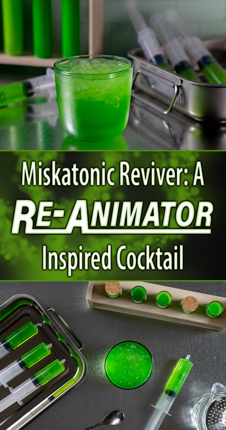 Continuing their preparations for Shudder's The Last Drive-In, The Geeks have created a cocktail called the Miskatonic Reviver inspired by the 80's horror cult classic Re-Animator starring Jeffery Combs! 2geekswhoeat.com #ReAnimator #Cocktail Recipes #UVCocktails #HorrorRecipes #HorrorFood #Halloween #MovieNight