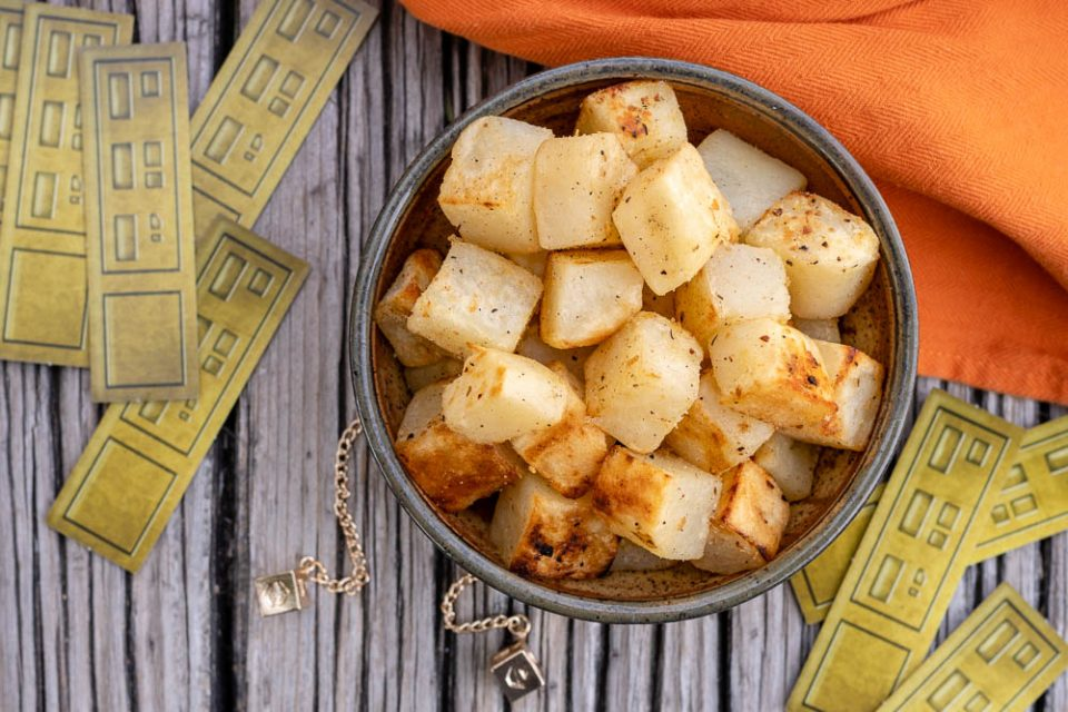 "[AD] Han's ""Dice""-d Potatoes, inspired by Solo: A Star Wars Story, are a great way to add a bit of geek and deliciousness to your Labor Day barbecue. 2geekswhoeat.com #Solo #StarWars #StarWarsRecipes #SideDishes #Grilling #LaborDay #BBQ #GeekyFood #GeekyRecipes"