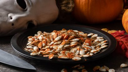 Halloween | Halloween Recipes | Pumpkin Seeds | The Geeks have created a new recipe, Blood Spattered Pumpkin Seeds, just in time for the release of Halloween. They are a perfectly spooky movie night snack! 2geekswhoeat.com
