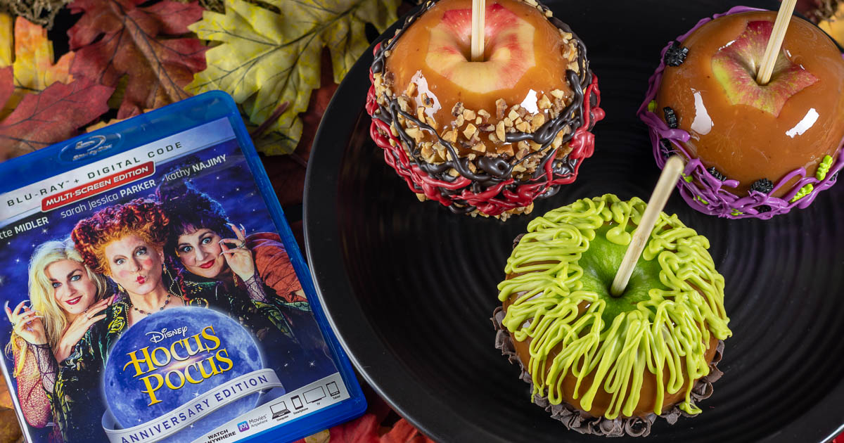 Caramel Apples | Disney Recipes | Halloween Recipes | The Geeks are celebreating Halloween early with their recipe for Sanderson Sisters' Caramel Apples inspired by the Disney film Hocus Pocus! [sponsored] 2geekswhoeat.com