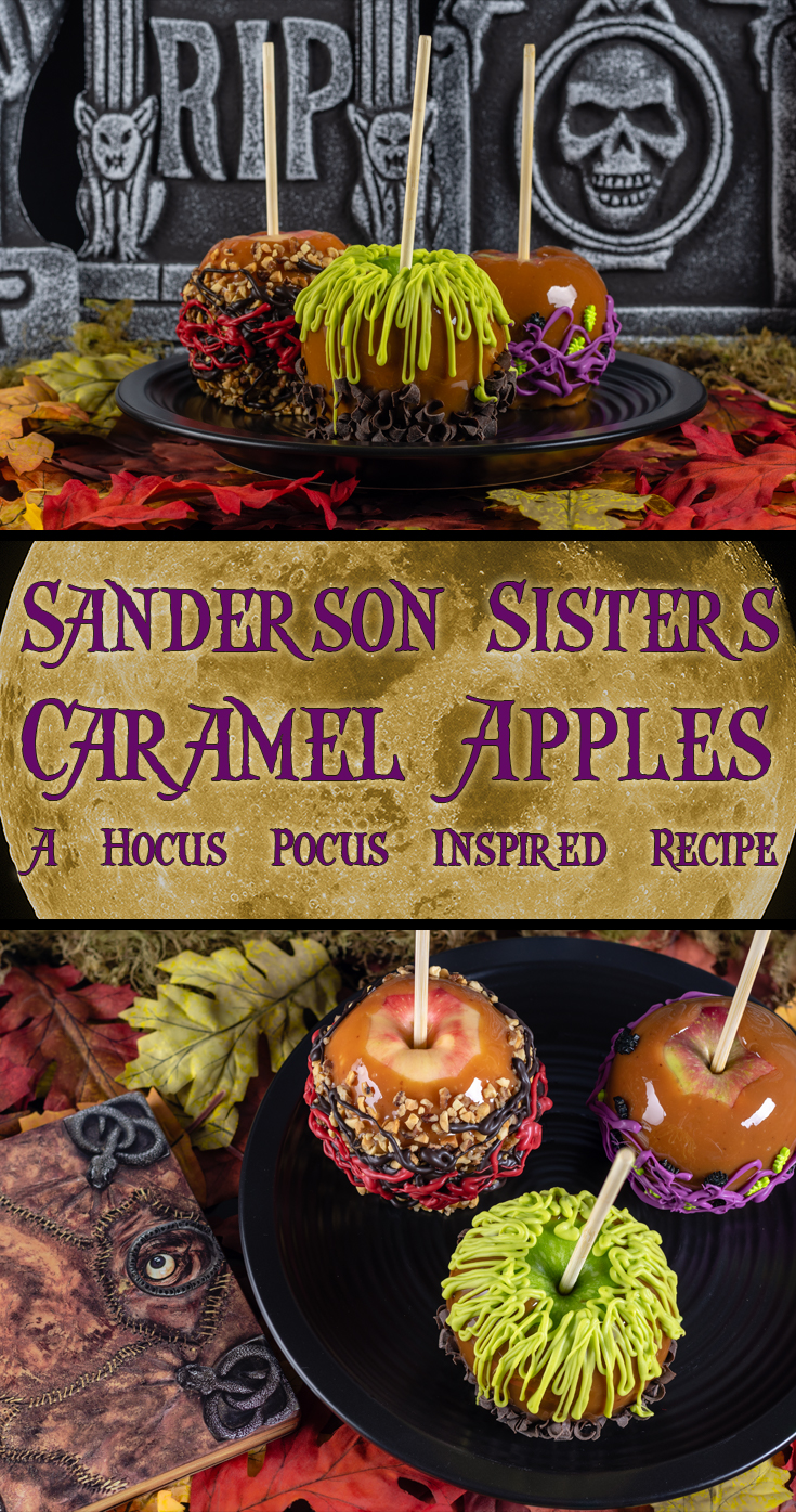 Caramel Apples | Disney Recipes | Halloween Recipes | The Geeks are celebrating Halloween early with their recipe for Sanderson Sisters' Caramel Apples inspired by the Disney film Hocus Pocus! [sponsored] 2geekswhoeat.com