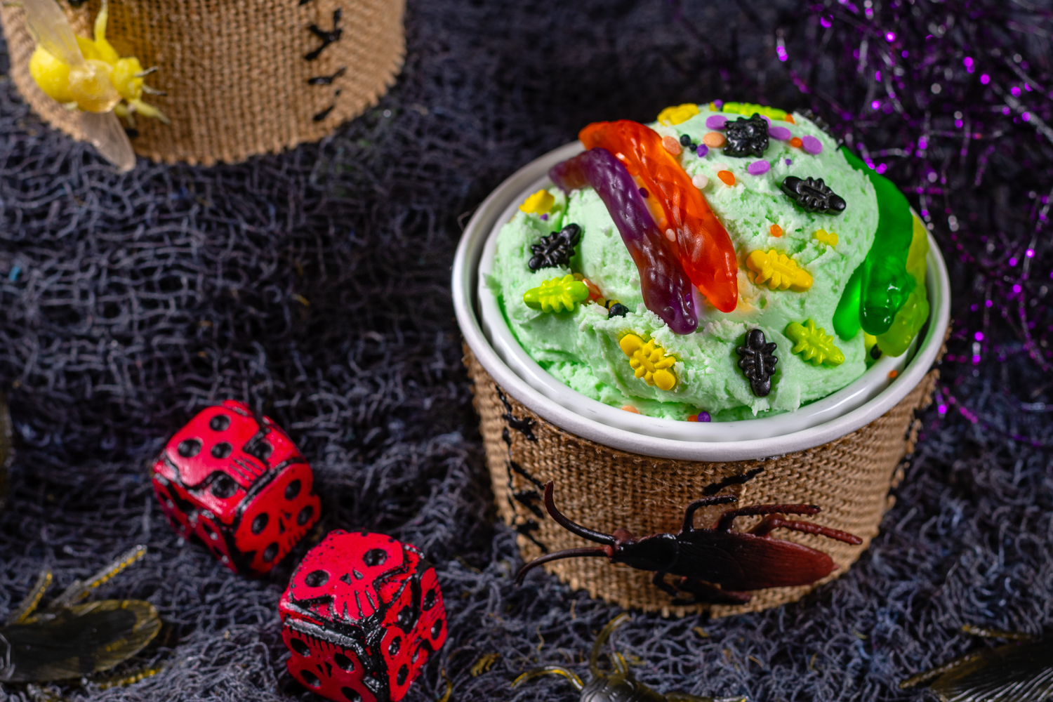 Nightmare Before Christmas Recipes | Halloween Recipes | Disney Recipes | The Geeks are celebrating the 25th anniversary of The Nightmare Before Christmas with a cute craft and ice cream sundae DIY called Oogie Boogie Ice Cream Sundae! [sponsored] 2geekswhoeat.com