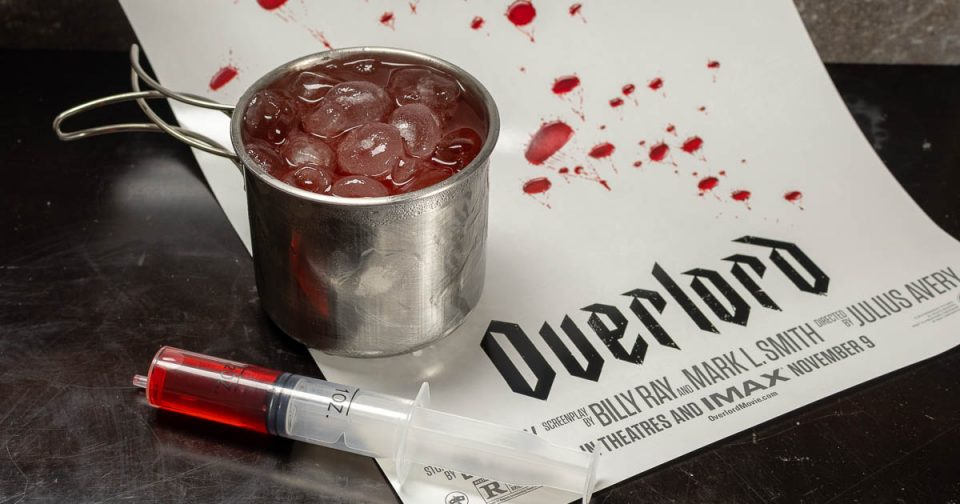 Horror Movie Recipes | Cocktail Recipes | Halloween Drinks | The Geeks have created a creepy recipe, the War is Hell cocktail, inspired by the film Overlord. 2geekswhoeat.com