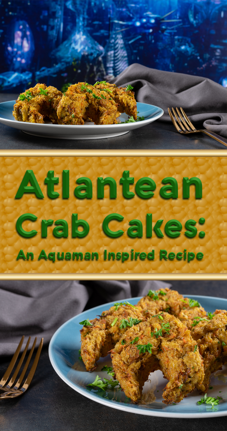 Inspired by DC's latest film Aquaman, The Geeks have created delicious Atlantean Crab Cakes. These tasty treats are perfect for a movie night! 2geekswhoeat.com #ComicBookRecipes #CrabCakes #AppetizerRecipes #Seafood #SummerRecipes #DCComics