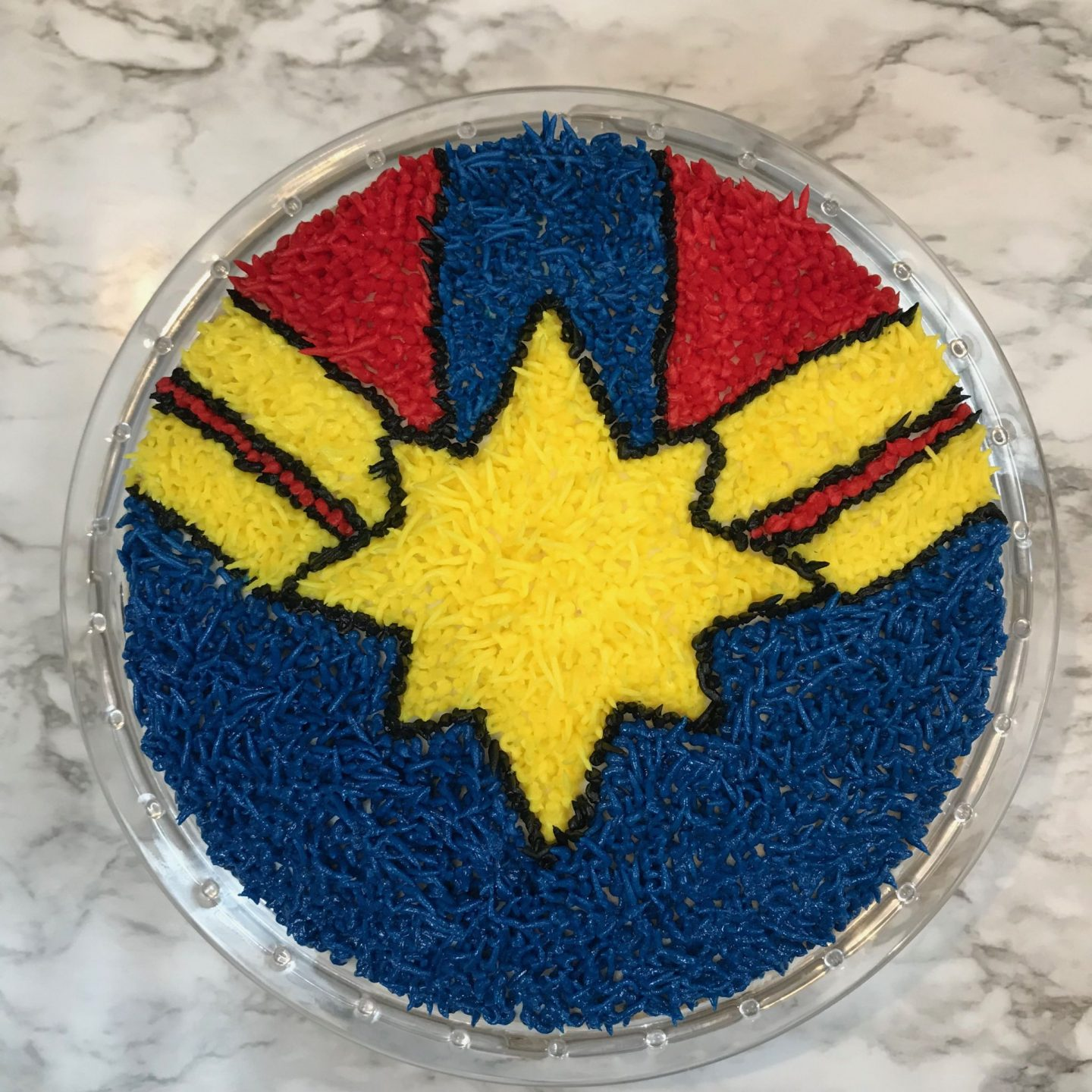 Captain Marvel Shag Rug Cake from Popcorner Reviews