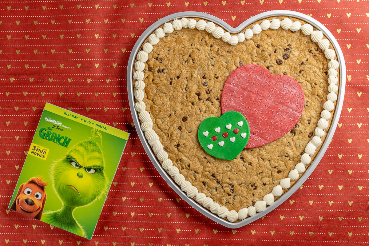 Three Sized Too Big Heart Cookie Cake: A Recipe Inspired by The Grinch